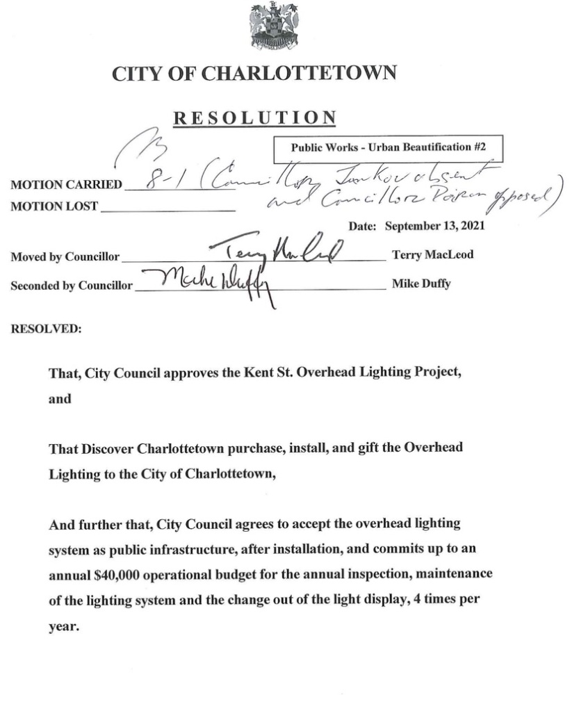 City of Charlottetown Resolution to approve the Kent Street overhead lighting project