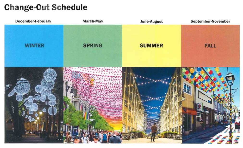 Seasonal change-out schedule for the Kent Street overhead lighting project