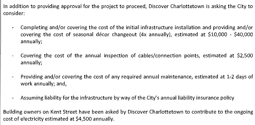 Screen shot of Discover Charlottetown's request to City Council to consider public funding request for the Kent Street overhead lighting project